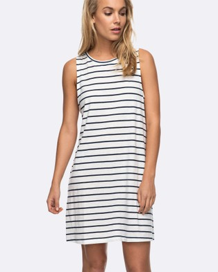 Roxy – Womens Just Simple Stripe Tank Dress – Bodycon Dresses (MARSHMALLOW LEXI STR)