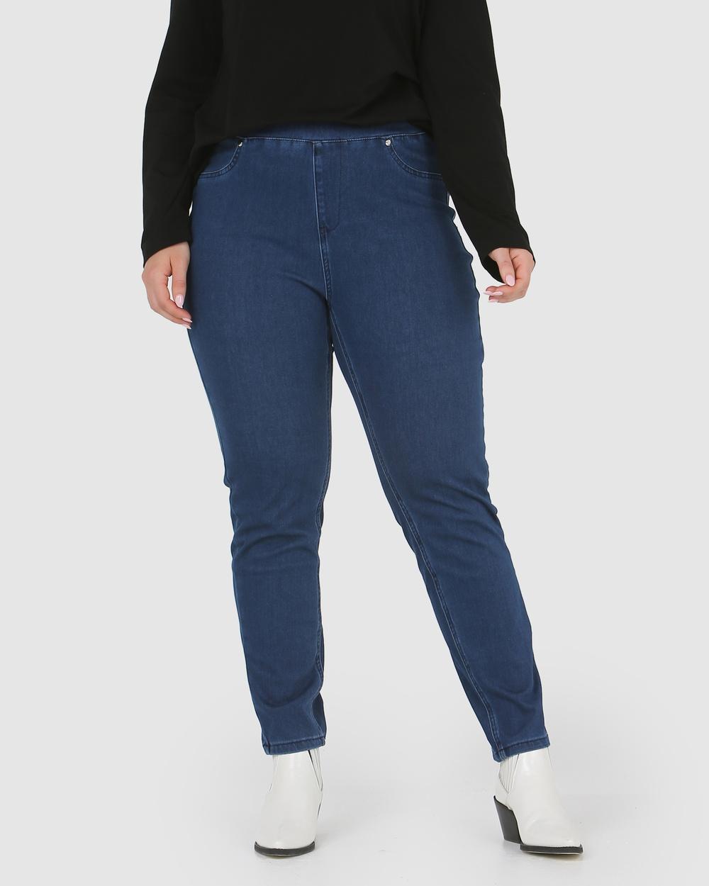 Advocado Plus Carmen Pull On Jeans Pants Medium Blue