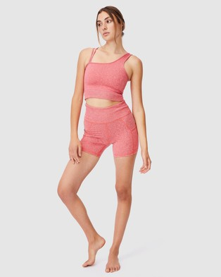 Cotton On Body Active Run With It One Shoulder Vestlette - Crop Tops (Candy Red Marle)