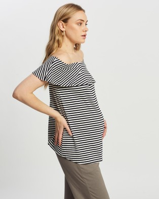 Isabella Oliver Jenna Maternity Ruffle Top - Tops (Stripe)