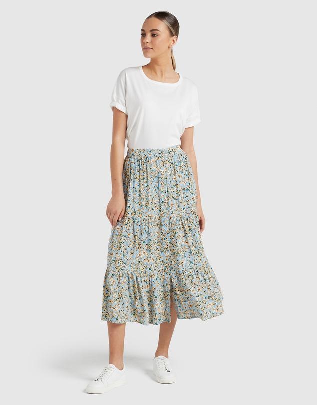 Women Tiered Button Through Skirt