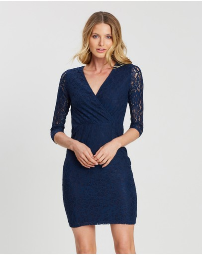 Dorothy Perkins Wrap Lace Bodycon Dress Navy Blue