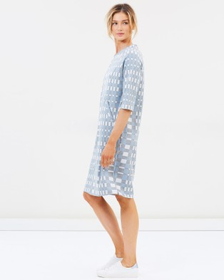 Lincoln St The Cocoon Dress - Dresses (Blue Check)