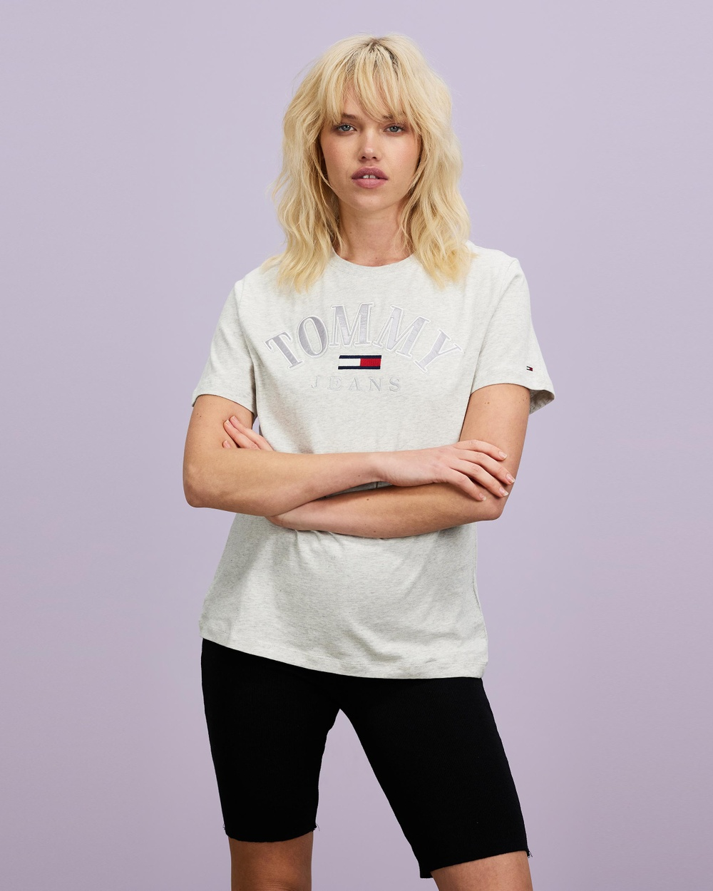 Tommy Jeans TJW Relaxed College Logo Tee T-Shirts & Singlets Silver Grey Heather Australia