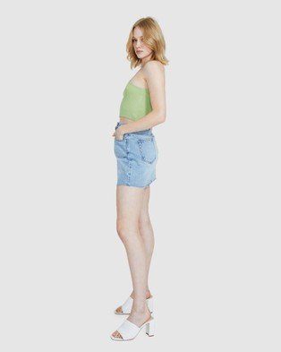 Alice In The Eve Bailey Asymmetric Knit Rib Top - Tops (GREEN)