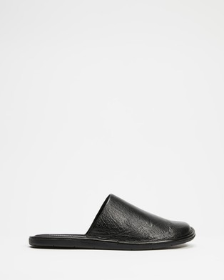 Double Oak Mills - Luxe Leather Slipper Casual Shoes (Black)