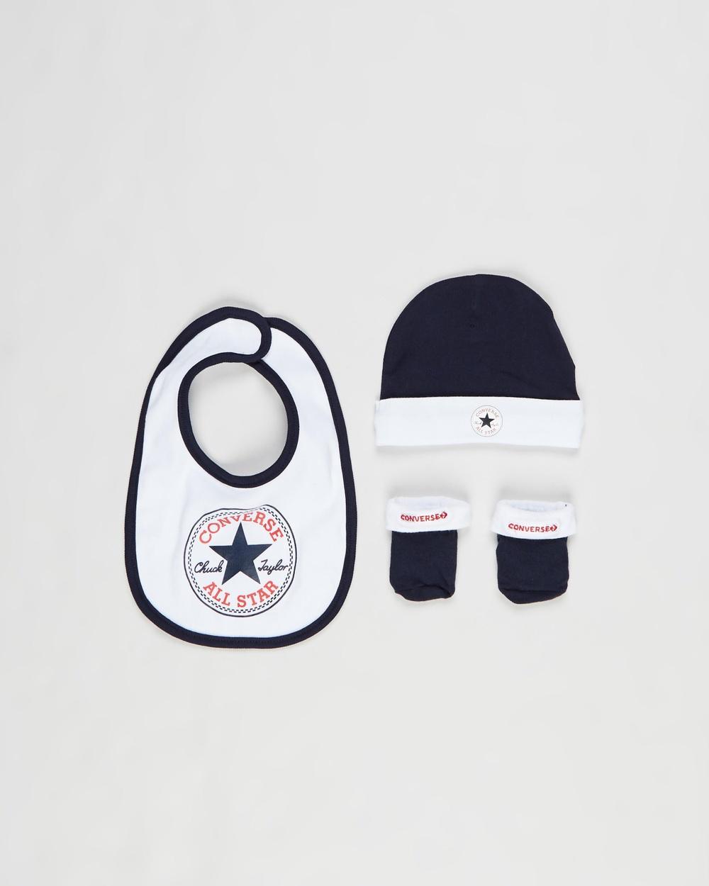 Converse Chuck Hat, Bib & Booties Set Babies Bibs Navy