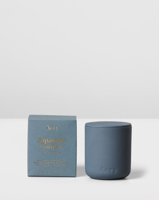 Aery Living - Fernweh Matte Ceramic Candle with Lid Japanese Garden Candles (Blue)
