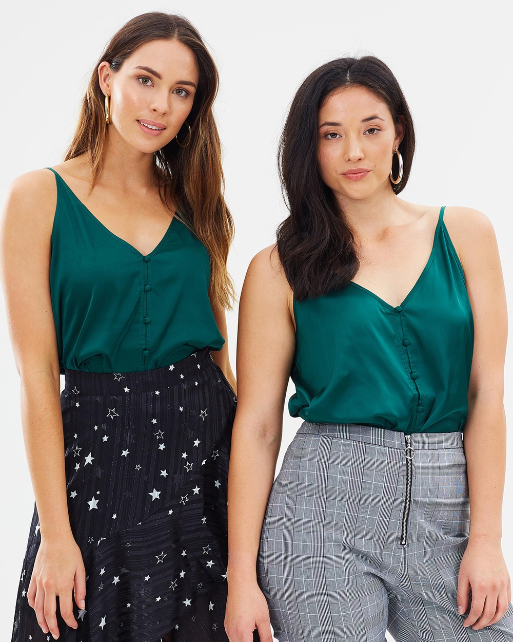 M.N.G Buttoned Satin Top Tops Green Buttoned Satin Top