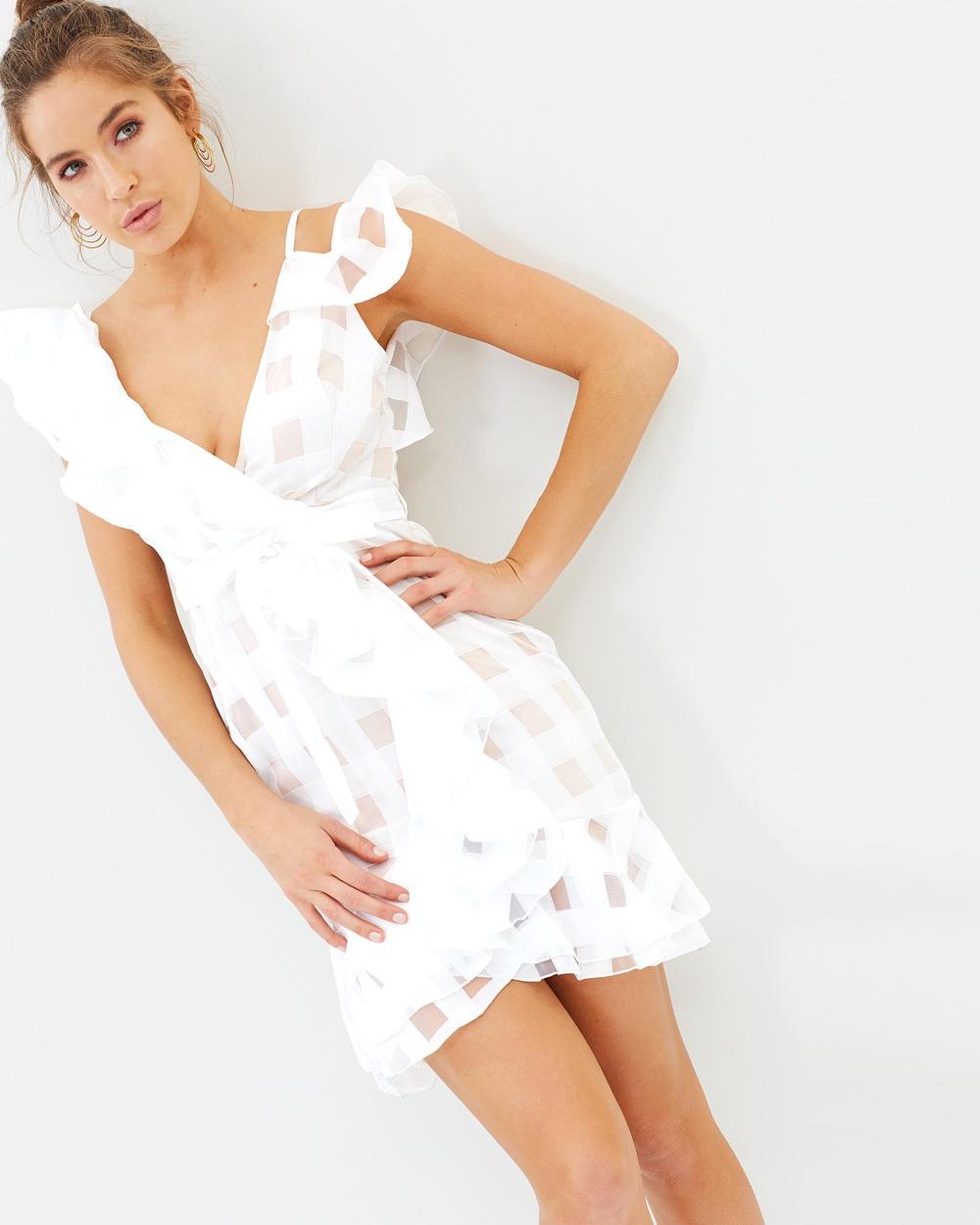Missguided Asymmetric Grid Frill Tie Waist Dress Dresses White Asymmetric Grid Frill Tie Waist Dress
