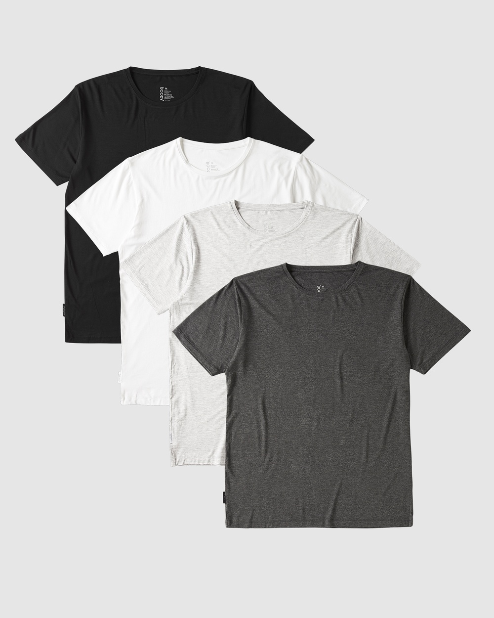 Boody Organic Bamboo Eco Wear - 4 Pack Crew Neck T Shirt - Short Sleeve T-Shirts (Black + White) 4 Pack Crew Neck T-Shirt