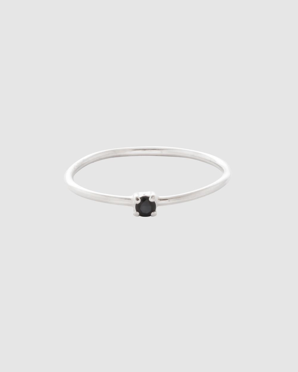 SAINT VALENTINE Saint Fine Black Quartz Ring Jewellery Silver