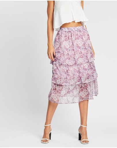 Atmos&here Melody Layered Skirt Purple Floral