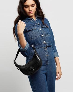 PETA AND JAIN - Kaley Shoulder Bag - Handbags (Black Croc) Kaley Shoulder Bag