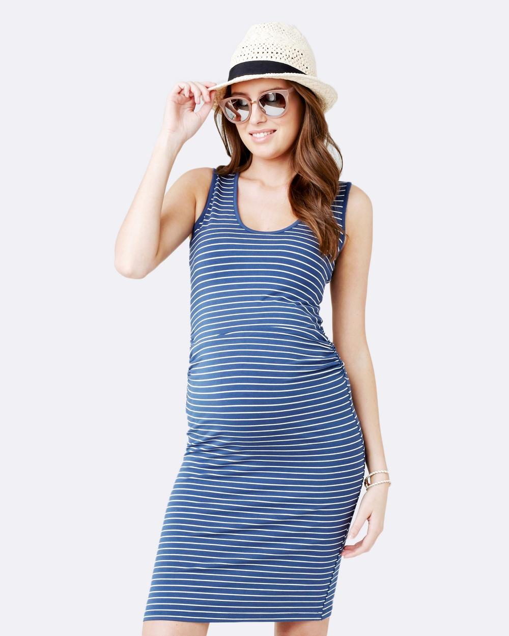 Ripe Maternity Mia Stripe Tank Dress Bodycon Dresses Washed Indigo Mia Stripe Tank Dress