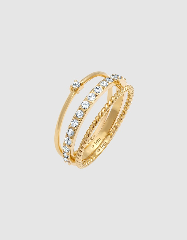 Women Ring Stacking 3er Set with Crystals in 925 Sterling Silver Gold Plated