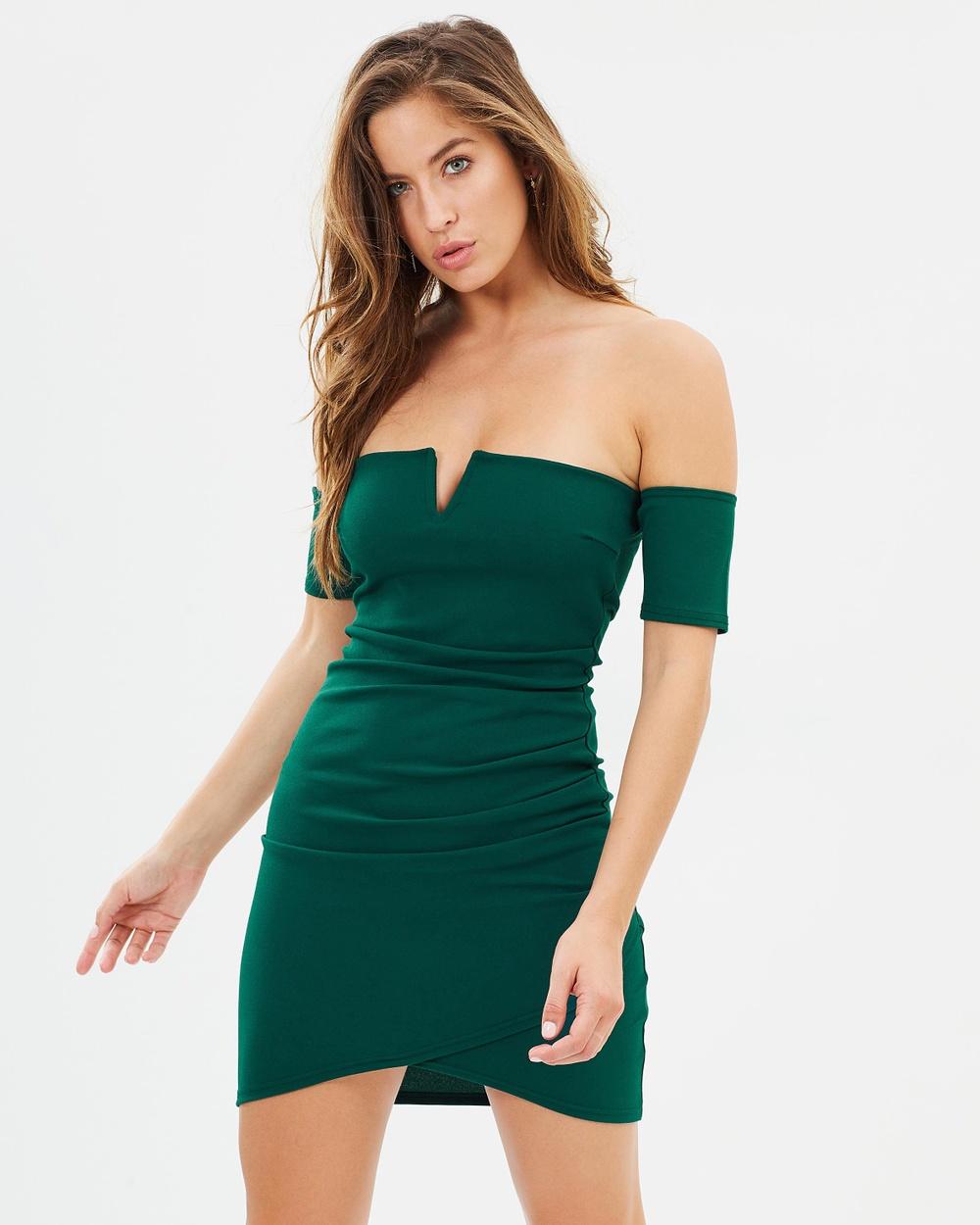 Missguided Bardot V Neck Mini Dress Bodycon Dresses Teal Bardot V-Neck Mini Dress