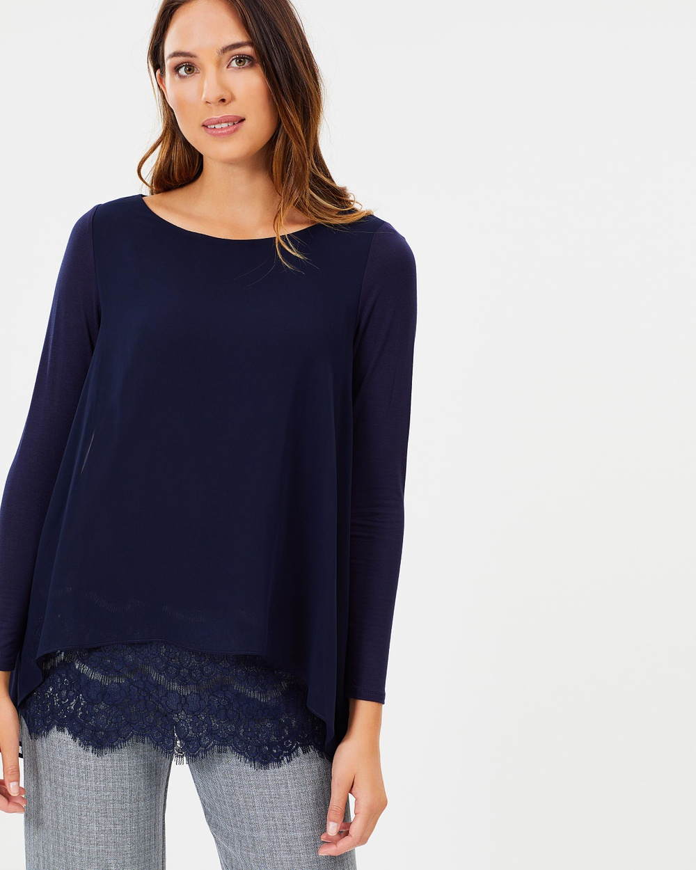 Wallis Lace Hem Layered Top Tops Navy Blue Lace Hem Layered Top