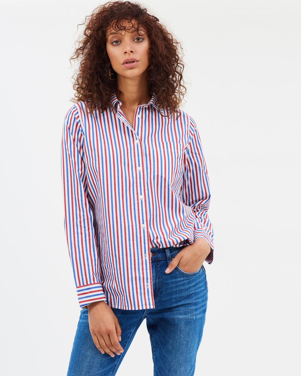 J.Crew Boy Shirt in Trifecta Stripe Tops Red & Blue Boy Shirt in Trifecta Stripe
