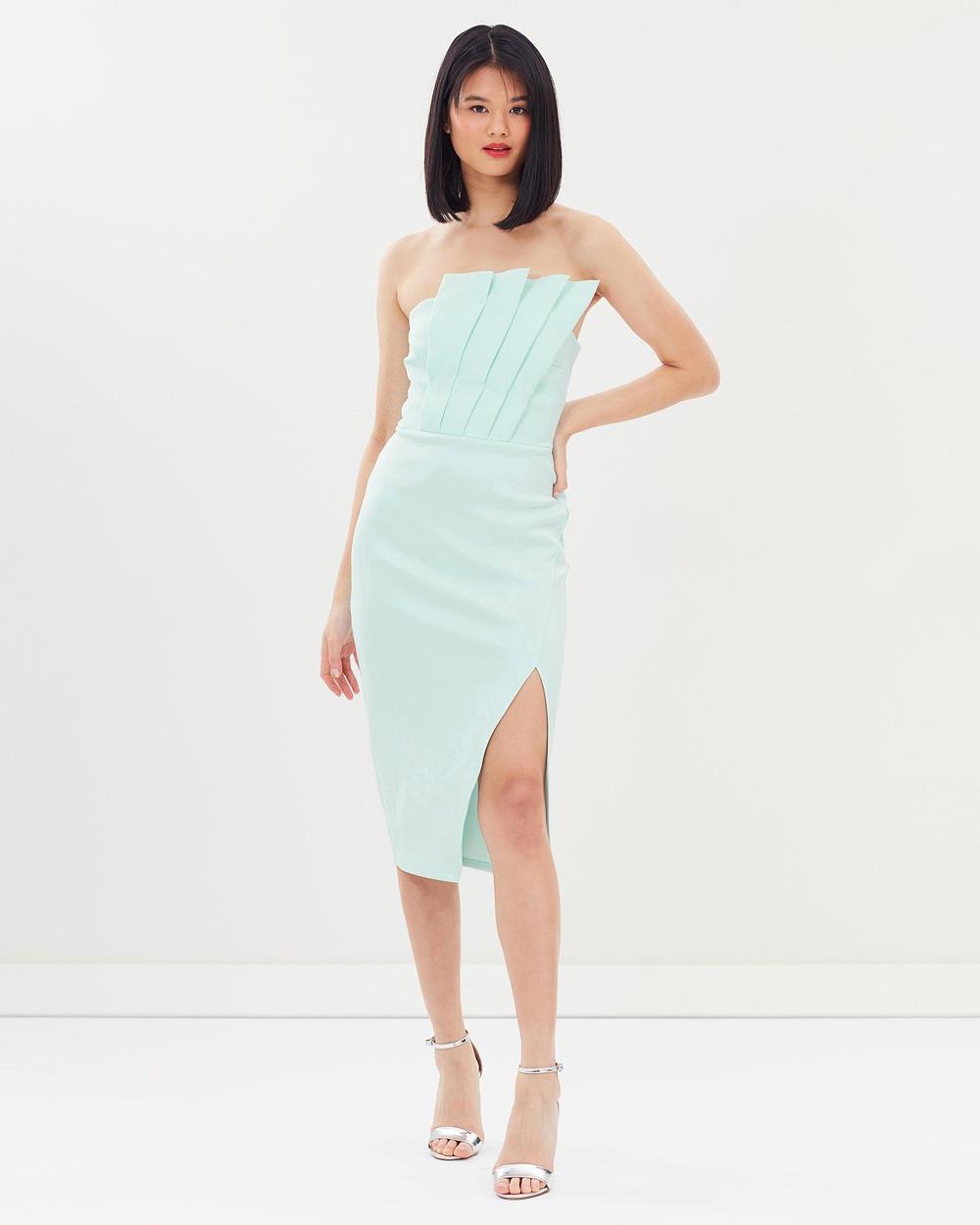 Miss Selfridge Scuba Pleated Fan Midi Bandeau Dress Dresses Light Green Scuba Pleated Fan Midi Bandeau Dress