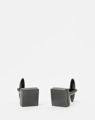 Kavalri Brushed Slate Cufflinks   Brushed Black - Ties & Cufflinks (Black)