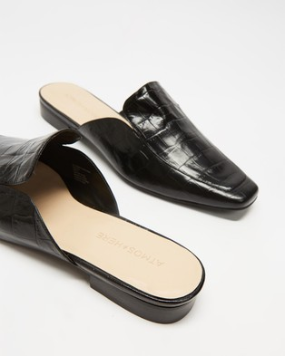 Atmos&Here Alessia Leather Mule Flats - Flats (Black Croc-Embossed Leather)