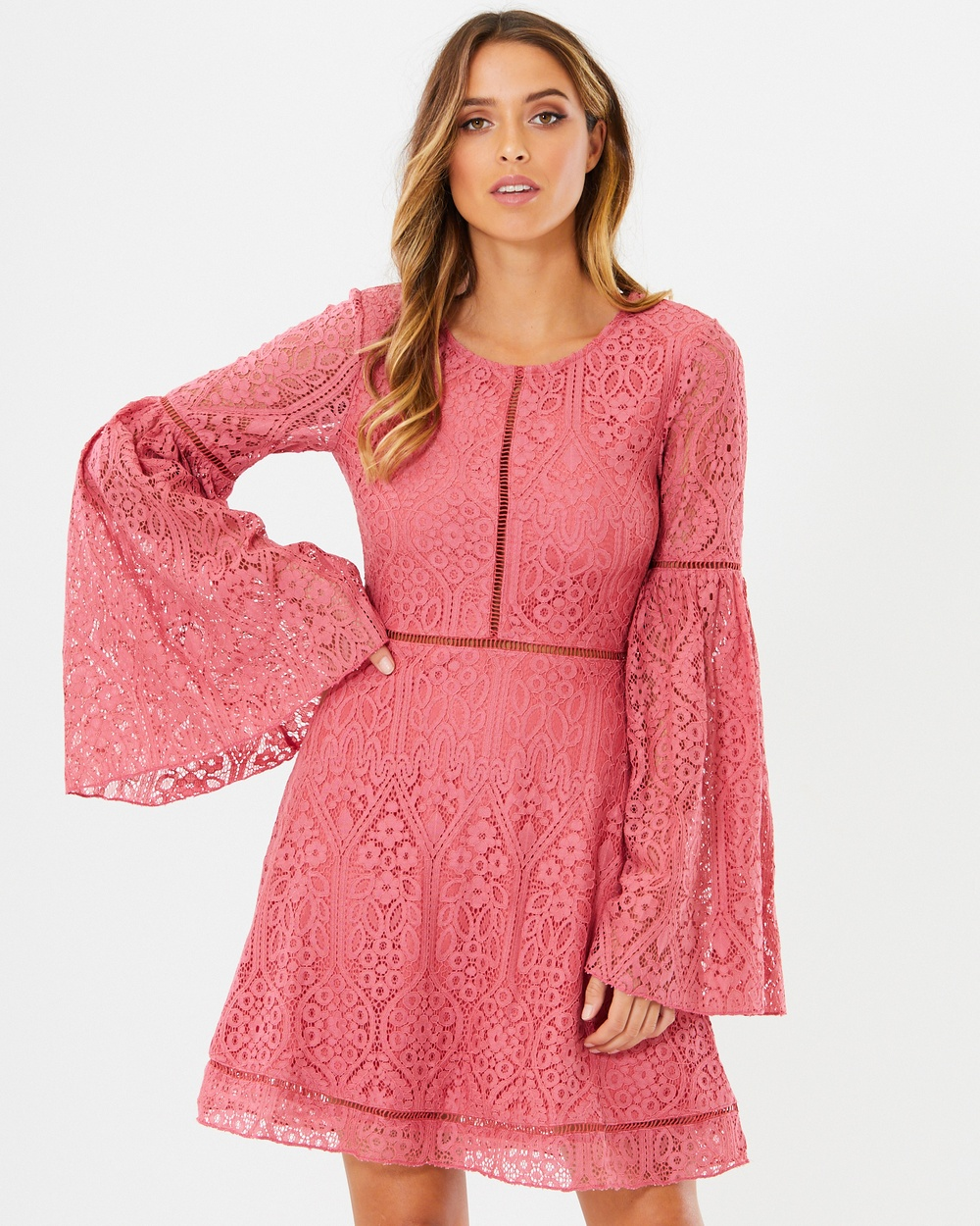 Calli Nina Dress Dresses Coral Pink Lace Nina Dress