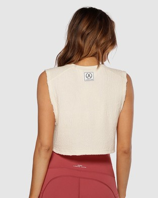 Lorna Jane Luxe Textured Cropped Tank - Muscle Tops (Cream)