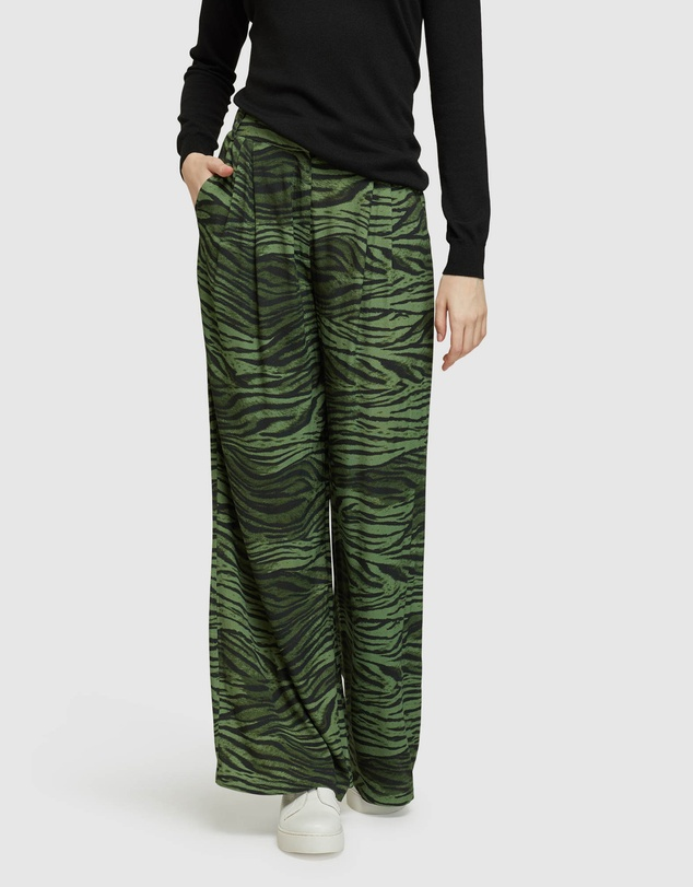 Oxford - Chantal Animal Print Wide Leg Pants