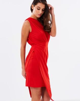 SKIVA One Shoulder Asymmetrical Dress - Dresses (Red)