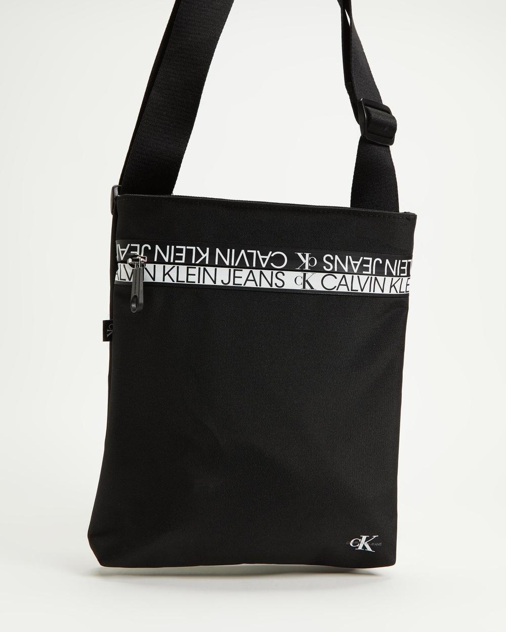 Calvin Klein Jeans Flat Crossbody Bag Bags Black Cross-body bags Australia