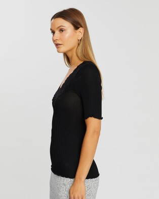 Grace Willow Judy Seamless Lace Top - Tops (Black)
