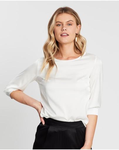 Mossée Ava 3/4 Sleeve Silk Top White