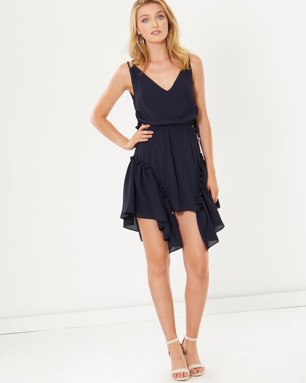 Tussah Dahlia Ruffle Mini Dress Dresses Navy Dahlia Ruffle Mini Dress