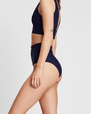 BONDI BORN Tatiana High Waist Bikini Bottoms - Bikini Bottoms (Blue)
