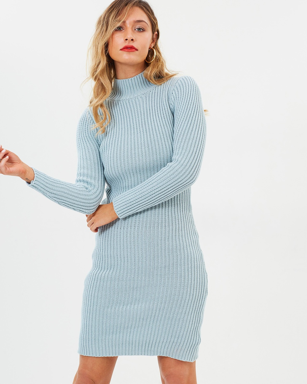 Lioness Manhattan Knit Dress Bodycon Dresses Cloud Grey Manhattan Knit Dress