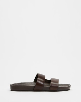 AERE - Mojave Leather Slides Casual Shoes (Brown)