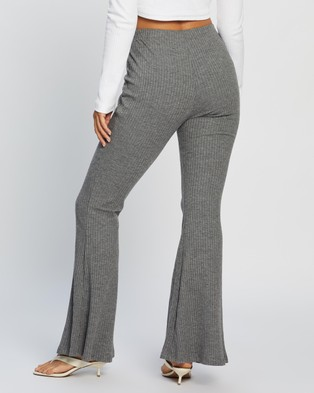 Missguided Rib Flare Trousers - Pants (Grey)