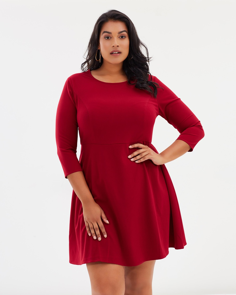 Atmos & Here Curvy ICONIC EXCLUSIVE Michelle Fit And Flare Dress Dresses Burgundy ICONIC EXCLUSIVE Michelle Fit And Flare Dress