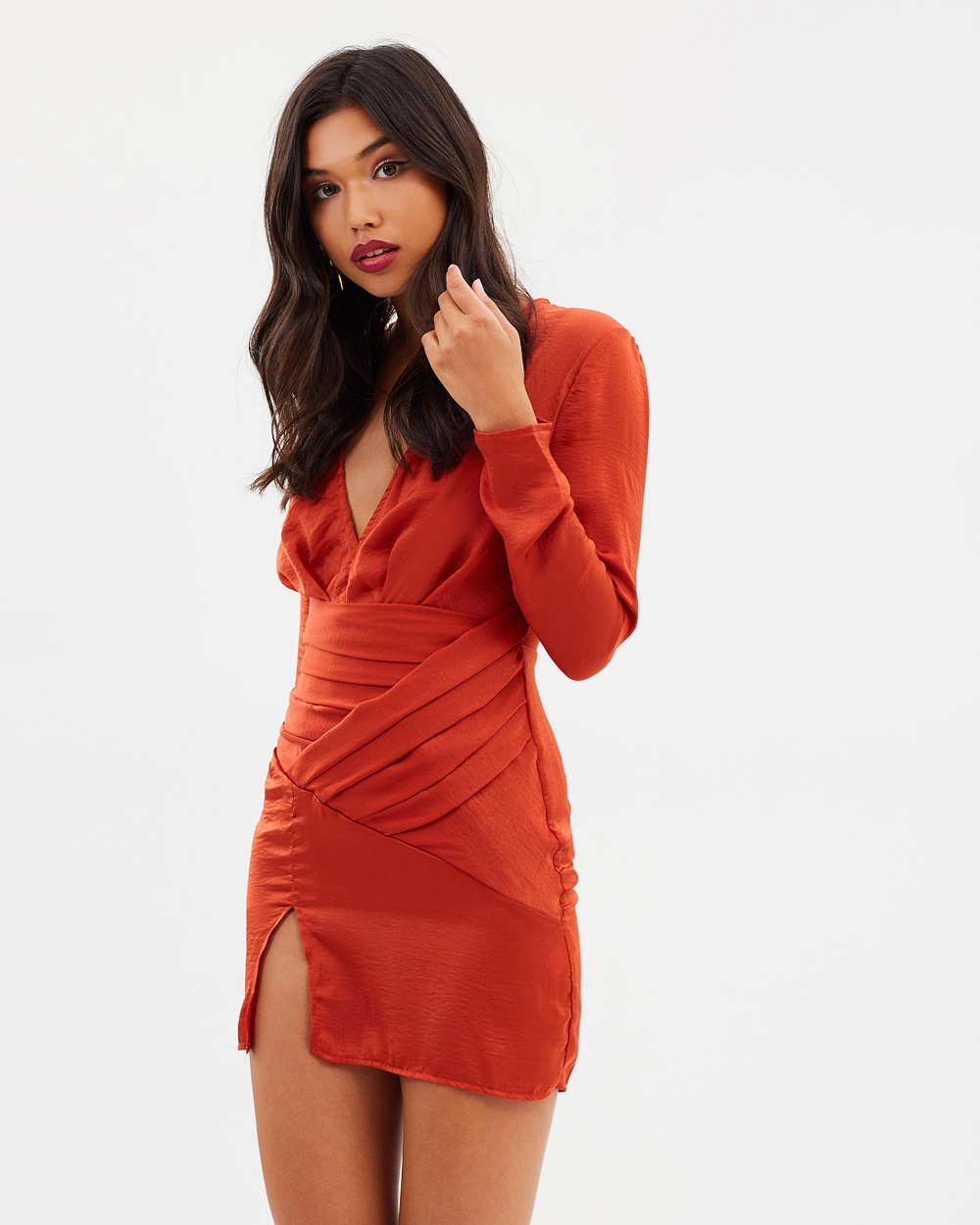 Missguided Silky Long Sleeve Panelled Dress Dresses Orange Silky Long Sleeve Panelled Dress