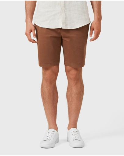 French Connection Slim Fit Stretch Chino Shorts Rust