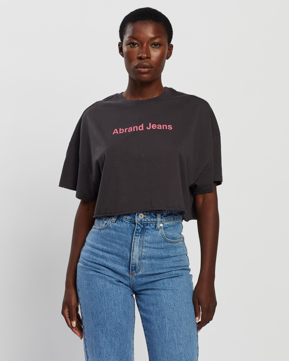 Abrand A Cropped Oversized Tee T-Shirts & Singlets Vintage Black