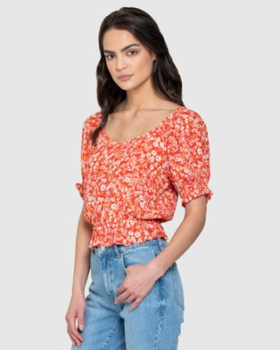 Forever New - Giselle Puff Sleeve Crop Co ord - Tops (Scarlet Ditsy) Giselle Puff Sleeve Crop Co-ord