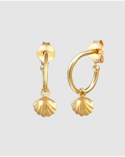 Elli Jewelry Earrings Creoles Heart Shells Beach Summer Trend In 925 Sterling Silver Gold Plated