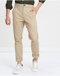Burton Menswear - Stone Carter Tapered Fit Stretch Chinos