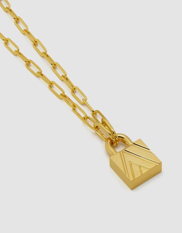 Women Chevron Padlock Chain Necklace