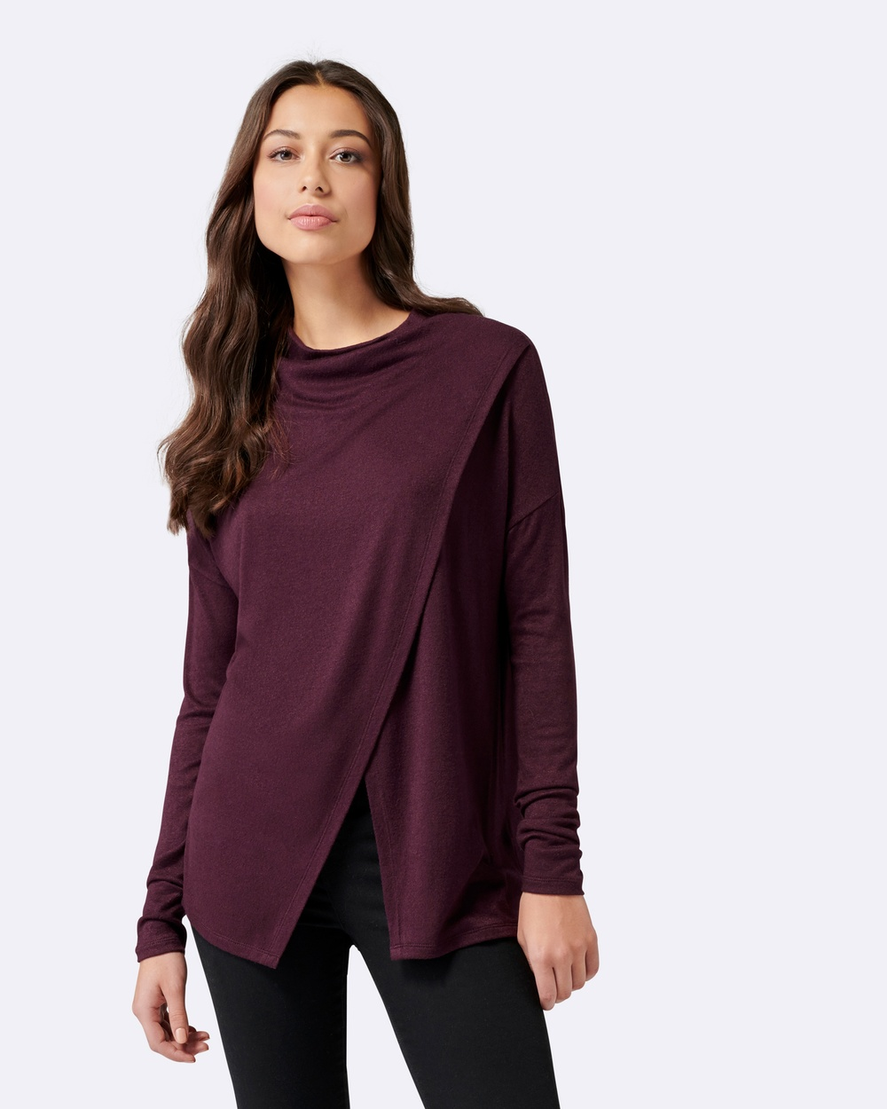 Forever New Piper Cross Over Neck Poncho Tops Dark Ruby Piper Cross Over Neck Poncho