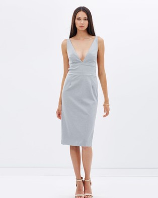 Talulah – Walk On By Midi Dress – Dresses (Grey & White)