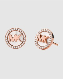 Michael Kors - MK Pave and Mother of Pearl Logo Stud Earrings