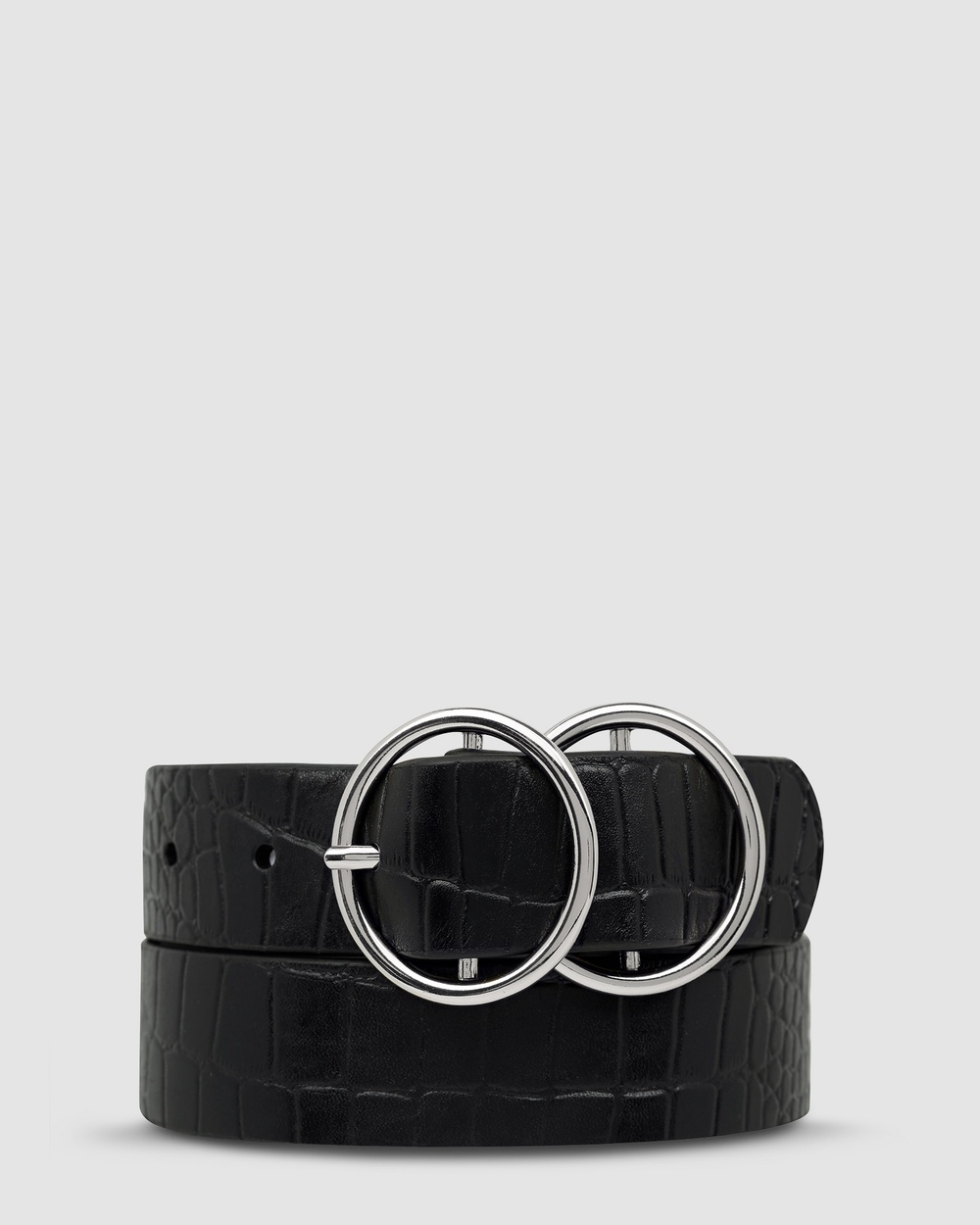 Status Anxiety Mislaid Belt Belts Black Croc/Silver